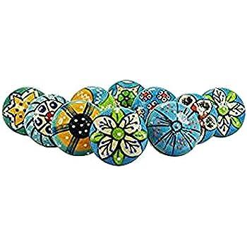"""0023-1 GlideRite 1-1//2/"""" Hand-Painted Round Ceramic India Kitchen Drawer Knob"""