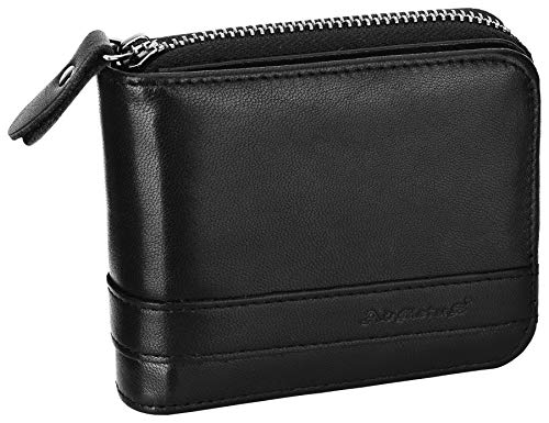 Men's Genuine Leather Bifold Wallet Zip-Around Card Holder Money Clip-Gift Wrapped Black - Cow Zipper Leather Black