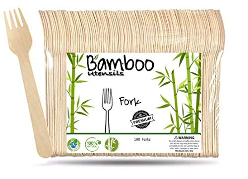 Eco Friendly Bamboo utensils, Disposable Wooden Cutlery, Compostable, Biodegradable and All Natural, Wedding and Party Supplies Wooden Silverware (100, Forks)