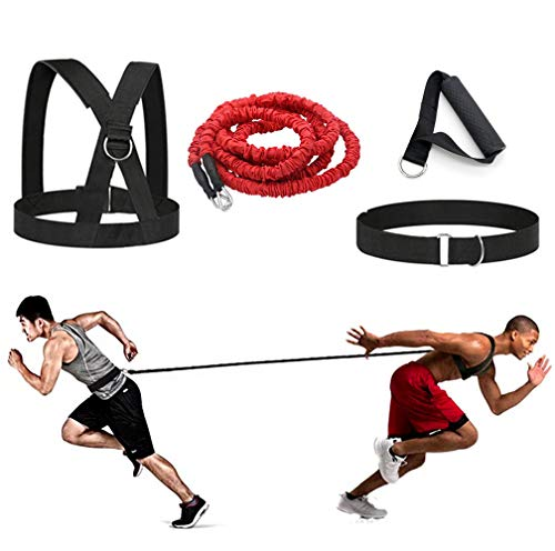 Sunsign Exercise Bands 4-Pcs Bungee Resistance Cord Set Fit Solo or Partner Great for Taekwondo Hockey Tennis Football Basketball Fencing Vertical Jumps Lateral Movement Sprint Overspeed Training