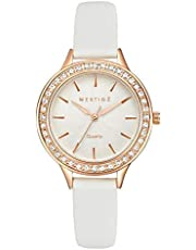 Mestige Watch The Sawyer in Rose Gold with Swarovski® Crystals Gifts Women Girls, White Leather Band