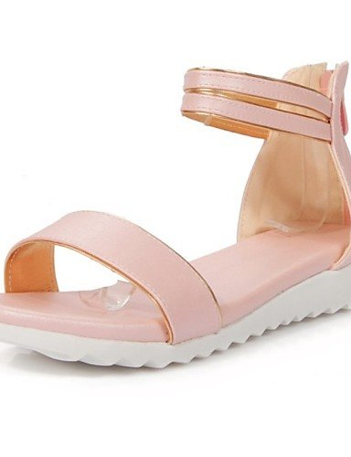LFNLYX Zapatos de mujer-Tacón Plano-Mary Jane-Sandalias-Exterior / Casual-Semicuero-Azul / Rosa / Blanco Pink