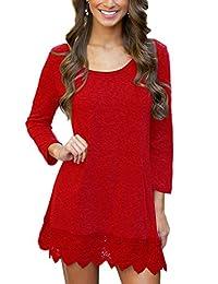 MiYang Women's Purple Long Sleeve A-line Lace Stitching Trim Casual Dress