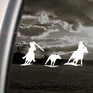 Roping Roper Horse - Team Roping Roper Horse White Sticker Decal Bumper Laptop Car White Sticker Decal