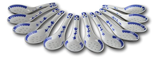 Blue and White Porcelain Rice Pattern Soup Spoons Tea Spoons Table Spoons Dessert Spoons (12)