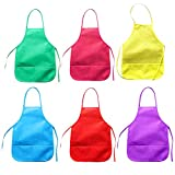 Children's Artists Waterproof Aprons, 6 Pack Kids Toddler Fabric Aprons for Kitchen Baking Cooking, Classroom, Community Event, Crafts and Art Painting Activity, Assorted Colors, 33 x 48cm, Age 3-8 years