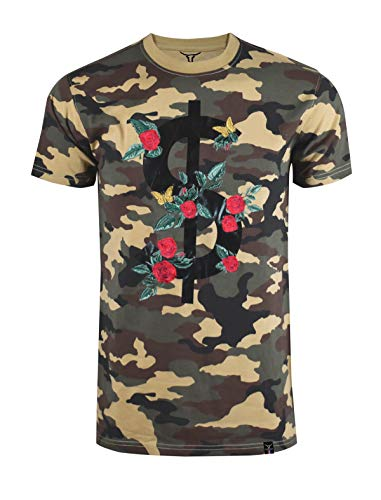 - SCREENSHOTBRAND-S11903 Mens Hipster Hip-Hop Premium Tee - Luxury Longline Dollar Sign Flower Print T-Shirt-Woodland-XLarge