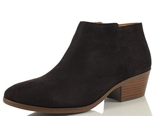 SODA Women's Round Toe Faux Suede Stacked Heel Western Ankle