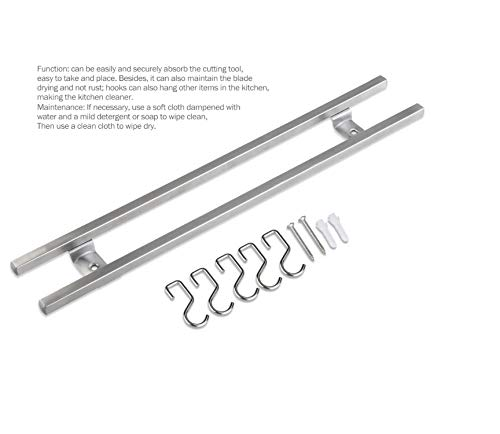 MINESEVEN 18 Inch Stainless Steel Magnetic Knife Holder & Space-Saving Strip for Kitchen Knives Utensils, Office, Craft, Bar, Garage Workshop Tools Wall Rack: Includes 6 Removable Hooks by Mine seven (Image #1)