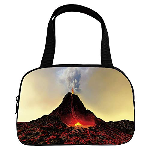 - iPrint Increase Capacity Small Handbag Pink,Volcano,Active Volcano Spews Out Hot Red Lava and Smoke Catastrophe Earthquake,Red Black Light Yellow,for Girls,3D Print Design.6.3