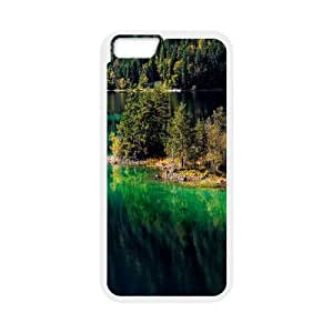 Nature Island Mountain IPhone 6 Plus Cases, Protective Case for Iphone 6 Plus Printed Okaycosama - White