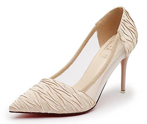 Escarpins Aiguille Femme Mode Abricot Cheville Bride Talon Mesh Aisun 1P7wqSzS