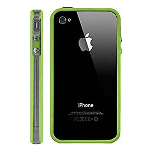 Adorable Quality Iphone 5 5G 5S Bumper Case Cover with Metal Buttons Transparent Green by G4GADGET®