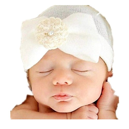 Winhurn Super Cute Baby Hat with Pretty Flower Bowknot for Newborn Head Decor (0-5 Months, White)