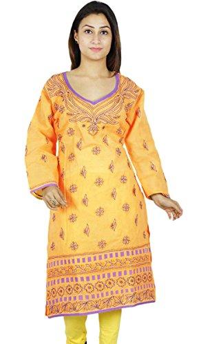 Bollywood Indian Chikan Mujeres bordado vestido de la túnica étnico Kurti algodón melocotón