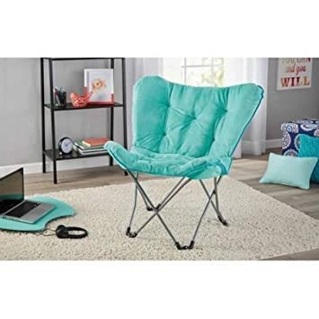 Mainstays Collapsible Butterfly Chair With Soft Microsuede Fabric In Mint  Blue