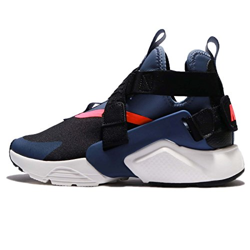 (Nike Air Huarache City Women's Fashion Sneakers, Size 8.5, Color Black/Navy/Diffused Blue)