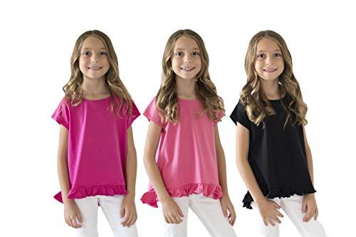 KIDIK Girls T Shirts 3Pack Coco Swing Top (Black/Purple/Rose)- M by KIDPIK