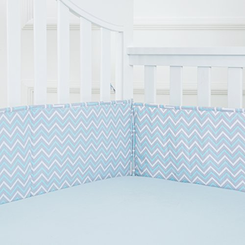 TILLYOU Breathable Crib Bumper Pads for Standard Cribs(Baby Boys & Girls), 27x52- Premium Woven Cotton and Microfiber Fill-in Padded Crib Liner, 4 Piece/Blue Zigzag Chevron