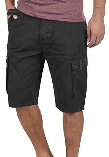 Black Bermuda Coupe Valongo solid 100 Pantacourt Ceinture 9000 Cargo Short Homme Coton Régulaire qn4TP