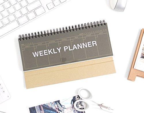 (SSGSSK Kraft Standing Weekly Planner - Wirebound Kraft Undated Weekly Desk Planner Scheduler)