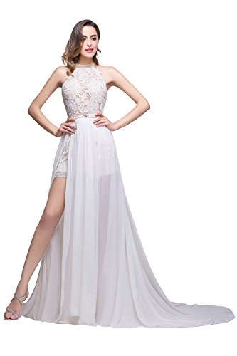 Maxikleider Schlitz Sommer Chiffon Babyonline® Abendkleider Ballkleider Spitzen mit mit Damen Weiß C0P10wqg
