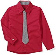 OCHENTA Boys' Long Sleeve Button Down Dress Shirt with Nec
