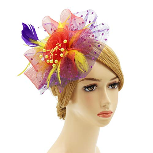 Wheebo Fascinator Hat Flower Feather Mesh Veil Wedding Tea Party Derby Cocktail Hat Headwear for Women Lady Girls (A-RPY) -