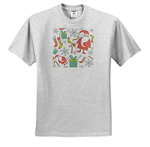 3dRose Anne Marie Baugh - Christmas - Cute Santa Claus and Stockings with Gifts Pattern - Toddler Birch-Gray-T-Shirt (4T) (ts_318514_33) ()