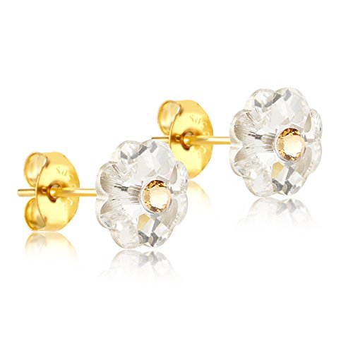 24K Gold Coated Stud Earrings with 8mm Clear and Gold Swarovski Crystal (Clear Crystal Flower Earrings)