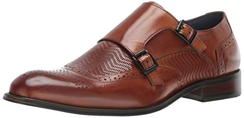 STACY ADAMS Men's Mabry Wing-Tip Double Monk-Strap Loafer, tan 13 M US - Embossed Leather Blazer
