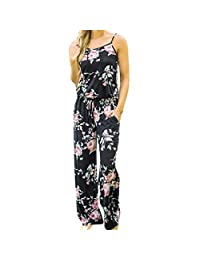 Womens Printed Strap Sleeveless Casual Wide Long Pants Jumpsuit Rompers Boho