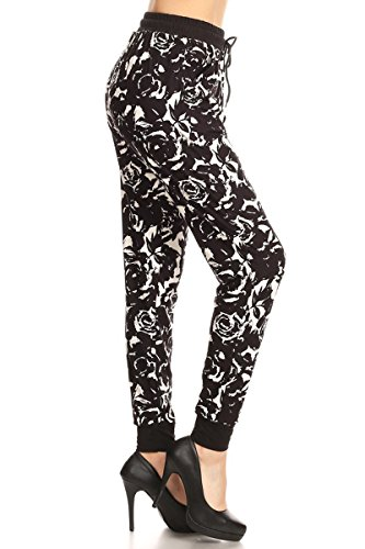 Leggings Depot Women's Printed and 3-Stripes Activewear Jogger Track Cuff Sweatpants Inner Pockets DS (Large, Black Rose)