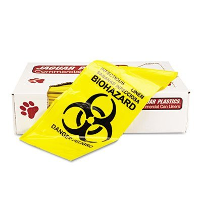 JAGIL3043Y - Jaguar Plastics IL3043Y Yellow Healthcare, Infectious Waste and Infectious Can Liners, 20 Gallons