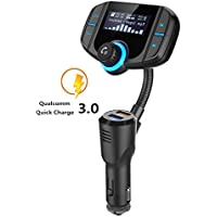 Bluetooth FM Transmitter for Vehicle, Wireless Radio Audio Adapter Kit with 1.7 inch LED Display and USB QC3.0 Car Charging Port, Support TF /Micro SD Card/MP3/MP4
