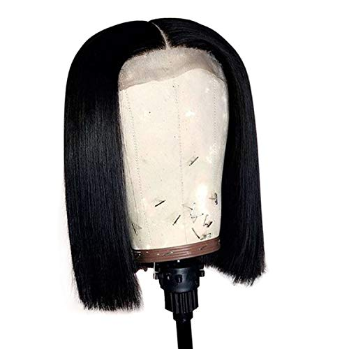 Short Human Hair Bob Wigs Roots Remy Lace Front Human Hair Wigs Plucked Baby Hair,#1,14inches,150%