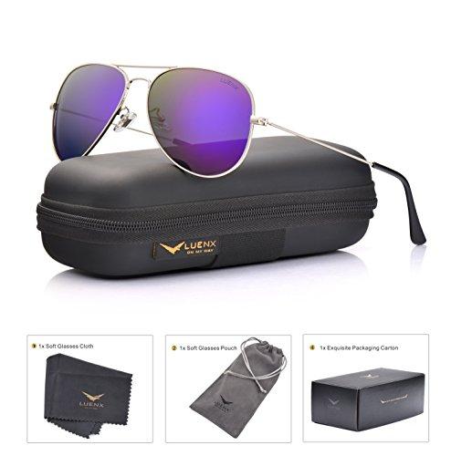 LUENX Womens Mens Aviator Sunglasses Polarized Mirrored Purple lenses Metal Frame 100% UV Protection Classic Style by LUENX
