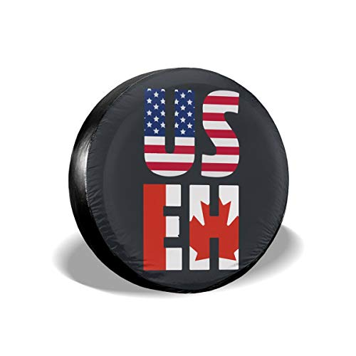 J122 America Canada Spare Wheel Tire Cover Waterproof Dust-Proof Wheel Covers for All Cars (14,15,16,17 Inch)