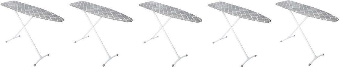 Homz Contour Steel Top Ironing Board, Grey & White Filigree Cover (5-(Pack))