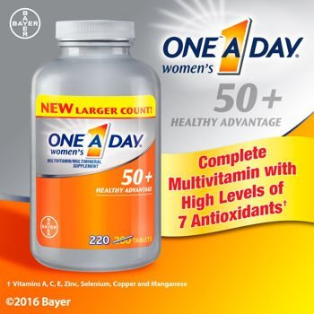 One A Day Women's 50+ Advantage Multivitamins, New Larger Size of 220 Count (One A Day Bayer)