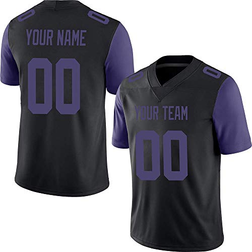 Black Custom Football Jerseys for Men Women Youth Embroidered Team Name and Your Numbers ()