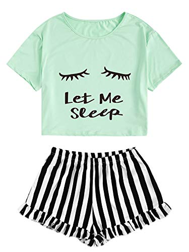 WDIRARA Women's Sleepwear Closed Eyes Print Tee and Shorts Pajama Set Green -