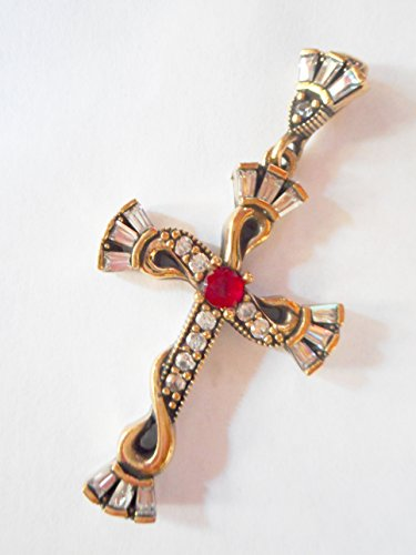 Vintage Ottoman 925 silver ruby and diamond cross pendant