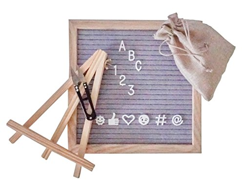 12x12 Felt Letterboard with 300+ Letters Symbols and Emojis Bundle (Gray) Gift for Teachers, Business, Photography Props for Wedding Engagement Baby Announcement ()