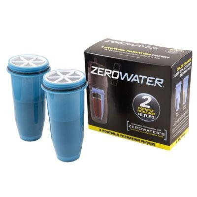 ZEROWATER Travel Bottle Portable Filtration Filter Replacement - 1 Box (2 filters)
