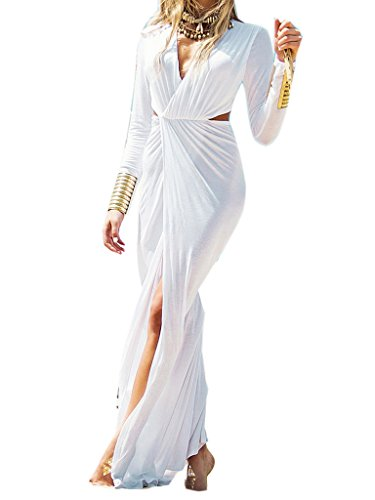 Clothink Women White Wrap Front V Neck Cut Out Split Plain Maxi Dress -