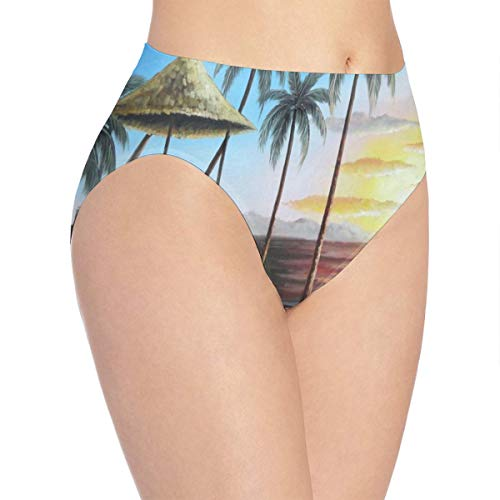 Womens Underwear Hawaii Straw Hut with Palm Trees On Sunset Custom Personalized Bikini Brief Hipster Panty