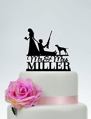 Amazon.com: Hunting Wedding Cake Toppers Funny Bride Pulling Groom