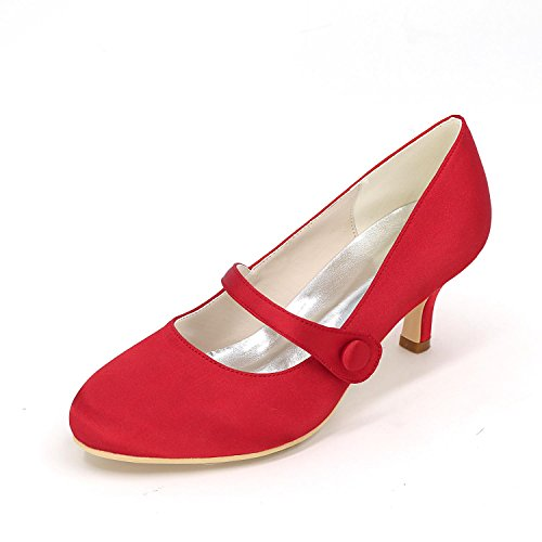 L Women's amp; Comfort Heels Shoes Party Wedding Satin High Red Rhinestone Dress Wedding Spring YC Summer Evening wArq5wC