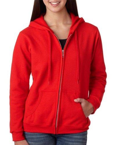 Gildan Womens Heavy Blend 8 oz. 50/50 Full-Zip Hood(G186FL)-RED-M (Red Hoodie)